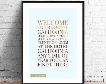 The Eagles Inspired - Hotel California Lyrics Print. Home Decor