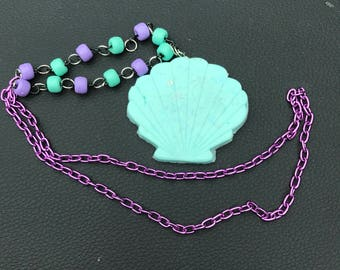 Blue and purple shell necklace