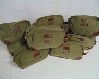 6-Canvas and Leather Groomsmen Toiletry Bags, Personalized Toiletry bags, Monogramed Dopp Kit-Olive or Tan