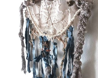 Doily Wall Hanging, Driftwood Art, Unique Dream Catcher, Upcycled Denim, Driftwood Decor, Gifts for her, Driftwood Dream Catcher, boho style