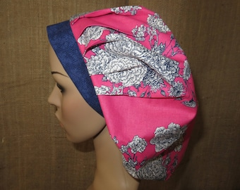 Pretty Toile Flowers on Pink with Contrasting Band Bouffant Surgical Scrub Hat