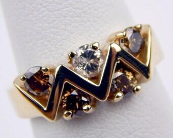 14k gold 1 Ctw brown white diamond ring #10309