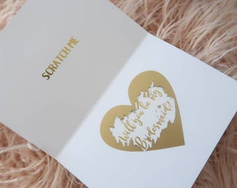 Set of 4 Personalised GOLD FOIL SCRATCH off proposal card, wedding, engagement, bridesmaid, maid of honour, scratchie, custom, bridal party,