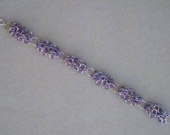 """Ladie's 7.50"""" Jumprings Bracelet, Purple Miyuki Beads, goldtone & Silvertone Jumprings"""