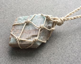 Amazonite Necklace, Raw Crystal Necklace, Healing Necklace, Meditation Necklace, Mindfulness Necklace, Vegan Jewelry (64)