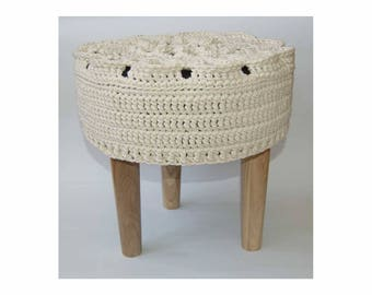 Knitted pouf ,Floor   Round Pouf -  Ottoman wooden legs, Footstool,