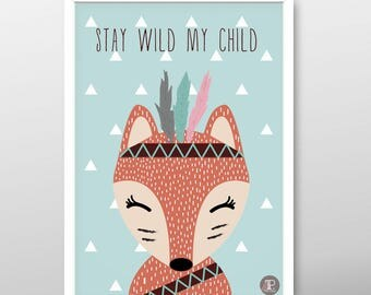 Printable poster, Download poster, Fox poster, Indian poster, Kids poster, Nursery poster, Baby poster, Boys poster, Girls poster, A3 poster