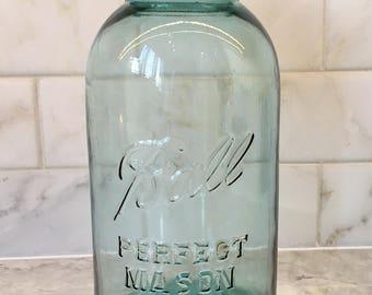 Vintage Half Gallon Blue Ball Jar 1920s - 1930s