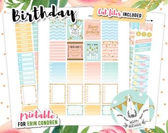 Birthday Stickers, Printable Planner Stickers, Birthday Printable, Erin Condren Planner, Planner Stickers, Printable Stickers