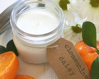 8 oz. Clementine & Daisy Hand Poured Pure Soy Candle with Cotton Wick