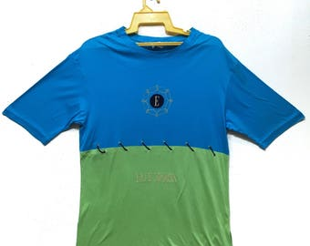 Vintage Elle sport Colour block Rare Patern spell out shirt Blue and Green colour