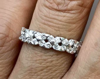 28pcs of Sparkling Diamond ring, .56ctw, 18k white gold band, anniversary ring, stackable ring, 4mm wide.