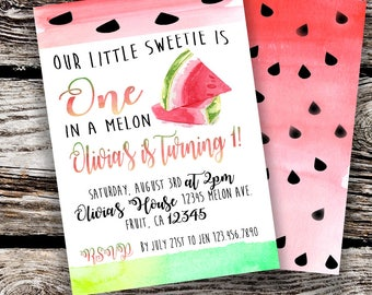 Digital Watermelon Party Invitation File DOUBLE SIDED DESIGN