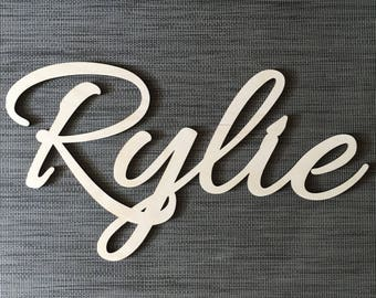 Word or Name Sign, Script, Door, Wall, Child, Baby, Nursery, Home Decor, Wall Decor, Custom, Personalized, Cursive, Block Letter
