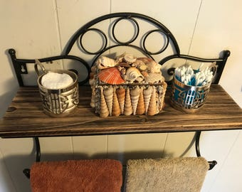Upcycled Distressed Scroll Metal And Reclaimed Wood Bathroom Kitchen Towel  Rack Shelf
