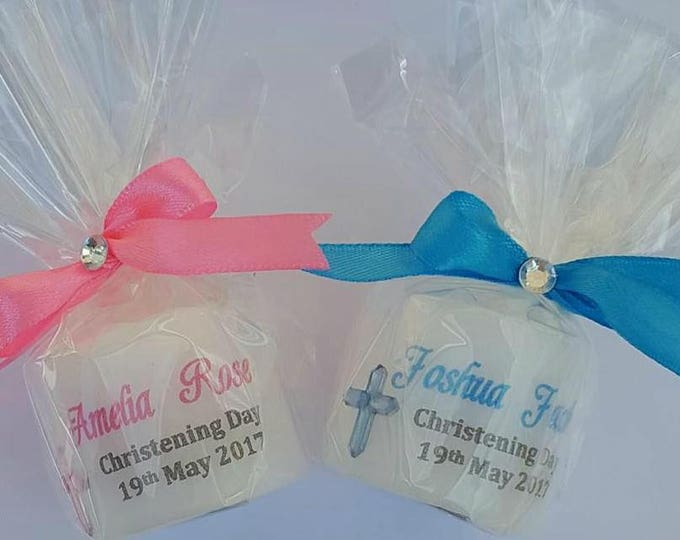 Christening  candle favours . Personalised candles.