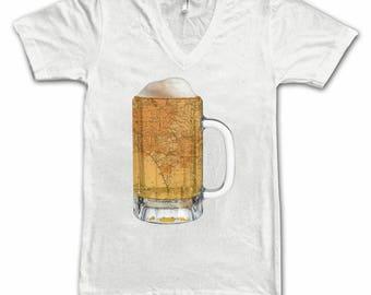 Ladies  Los Angeles Map Beer Mug Tee, Vintage City Maps Beer Mug Tees, Beer T-Shirt, Beer Thinkers, Beer Lovers, Cities, Beer Lover Tees