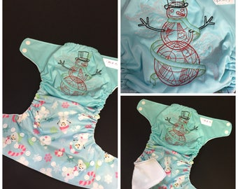 Snow snowman embroidered Pocket diaper