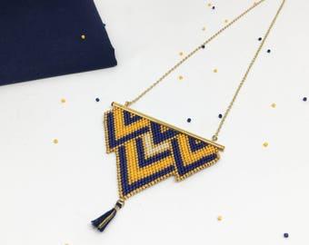 Necklace gold/blue/mustard Miyuki delicas and tassel