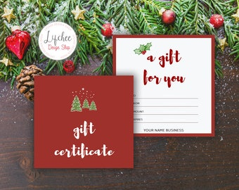 Printable Christmas Tree Watercolor Gift Certificate Template | Editable Holiday Xmas Gift Card Microsoft Word Template INSTANT DOWNLOAD