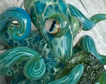 Boro glass octopus Moldavite focal bead pendent