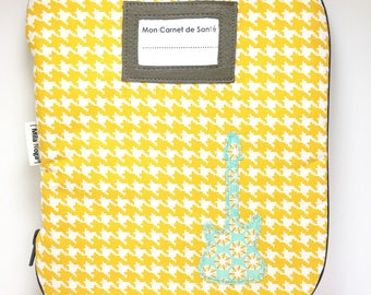Health book printed feet hens with door tag and zipper closure