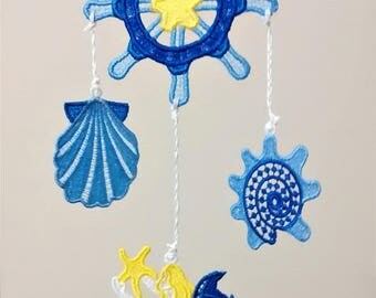 nautical mobile, turtle mobile, seashell mobile, sea turtle, whale, seahorse, star fish mobile, dolphin, sand dollar, captains wheel, anchor
