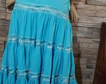 Romantic summer skirt ,blue cotton skirt , made in India, hippie,Gypsy,size XL