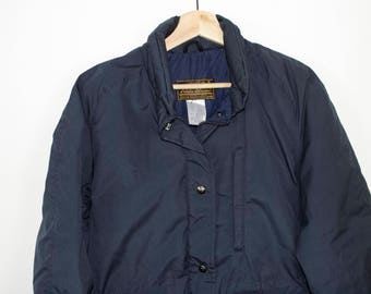 eddie bauer goose down jacket - vintage 90s - blue - goosedown - small / medium