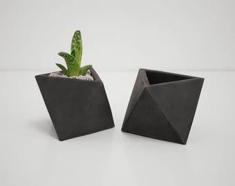 Concrete Planter Octahedron Geometric Cactus Succulent Pot Minimal Home Decor