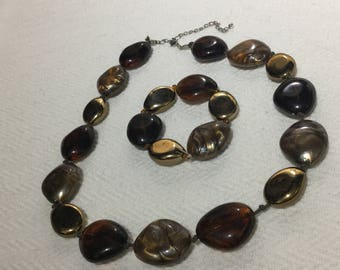 Marbled Brown And Golden Bead  Necklace And Elasticated Bracelet Set