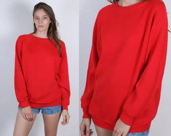 Retro 80s Sweatshirt // Vintage Red Pullover Slouchy Raglan Sleeve Normcore Mens Womens - Large to XL