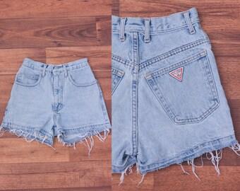 Vintage Guess Shorts // 80s Cutoff Jean Shorts Frayed Jean High Waisted - XXS
