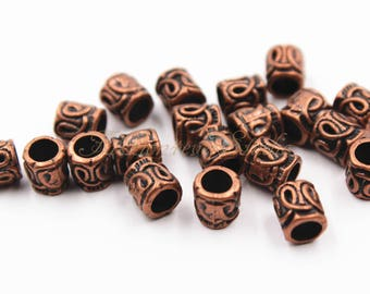 25pcs Antique Copper Tone Base Metal Beads 6mmx6mm, Copper Beads, Jewelry Findings, Beading Suppliers, Jewelry Suppliers