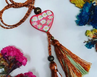 Mexican small heart shaped Hand painted necklace with flowers and pompons