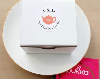 Tea Favour Box - Personalised Favours, Custom Favours, Wedding Favours,  Baby Shower Favours, Bomboniere, Bridal Shower, Party Favours x 20