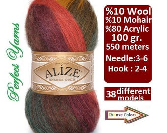 Alize Angora Gold Batik, wool yarn, mohair yarn, acrylic yarn, Angora Yarn, Batik yarn, Knitting yarn, Crochet yarn, multicolor yarn, soft