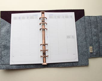 A6 diary plum leather and felt gray