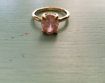 Estate Yellow and Light Pink CZ Fashion Ring
