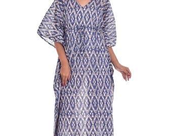 Indian Cotton Block Printed Kaftan Maxi Dress Beach Caftan Nightdress Abaya Poncho