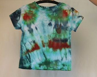 Size 1T - Ready To Ship - Unisex Baby - Children - Kids - Iced Tie Dyed T-shirt - Green - Blue - 100% Cotton - FREE Shipping within Aus