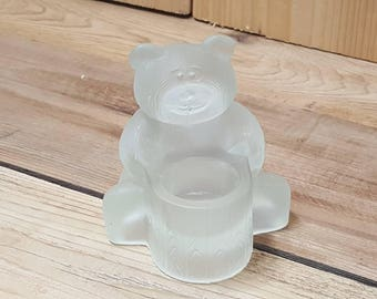 Clear Glass Bear with Tree Trunk Candle Holder Vintage Sculpted Clear Cute Candlelit Dinner Home Decor Shabby Cottage Chic