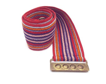 Red, Blue and Orange Striped Elastic 70s Belt Gold Tone Metal Buckle