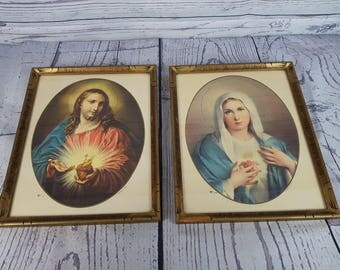 Vintage Pair of Framed Religious Antique Prints Virgin Mary & Jesus Frame w/ Glass Wall Art Hanging Printed in Italy Gift Catholic Christian