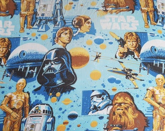 Vintage 3 Piece Set Star Wars / 1 Flat Sheet / 1 Fitted Sheet / 1 Pillow Case / For Twin Bed Size / Kids room Children / Darth Vader 1977