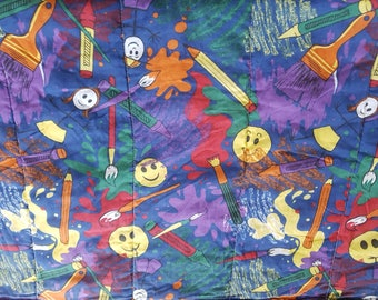 "Vintage Happy Face Artsy Painting Art Stick Man / Teens Kids Sleeping Bag 63"" x 29"" / Cartoon"