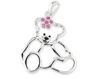 925 Sterling Silver Pink Enamel Teddy Bear Pendant Necklace