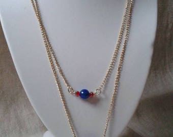 """necklace """"red and blue beads harmony"""""""
