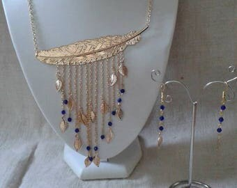 "set ""big golden leaf and blue beads"""
