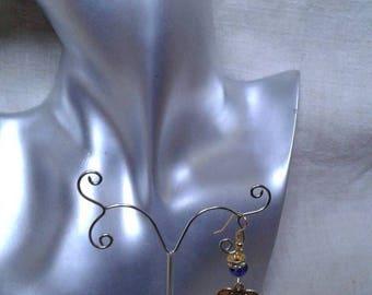 """Earrings """"golden heart bow"""""""